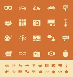 Favorite and like color icons on orange background vector image