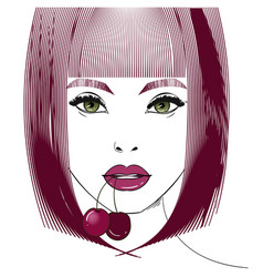 female portrait with cherry vector image