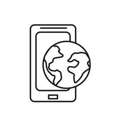 Figure global smartphone digital connect service vector