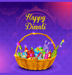 Firecracker in basket for gift on happy diwali vector