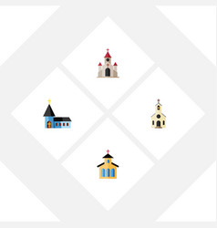 Flat icon christian set of building catholic vector