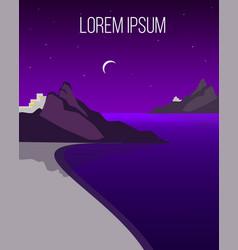flat night coast landscape template vector image