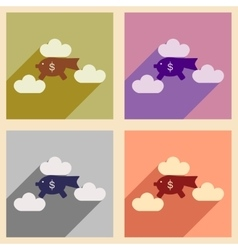 Flat with shadow icon concept piggy bank clouds vector