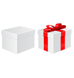 gift box without and with red ribbon vector image
