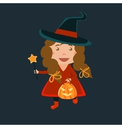 Girl In Whitch Red Haloween Disguise vector