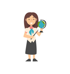 Girl teacher character with pointer and globe kid vector