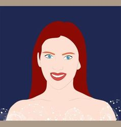 girl with long red hair on a blue background vector image