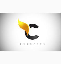 Gold c letter wings logo design with golden bird vector