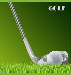 Golf green background with ball and stick template vector