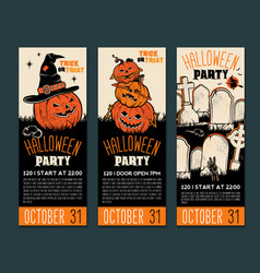 halloween tickets template place for your text vector image
