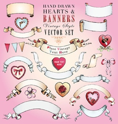 Hand-Drawn Hearts and Banners Set vector