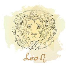 Hand drawn line art of decorative zodiac sign leo vector