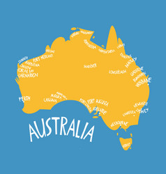 Hand drawn stylized map australia travel of vector