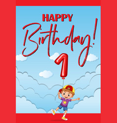 Happy birthday card for one year old boy vector