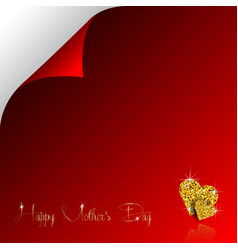 happy mother day gold glitter hearts paper page vector image