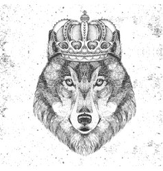 Hipster animal wolf in crown hand drawing muzzle vector