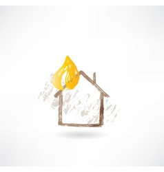 House fire grunge icon vector image vector image