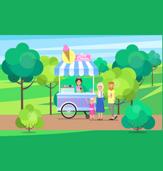 Ice cream stand in green park vector