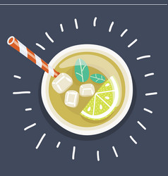 iced tea with sliced lemon and mint vector image