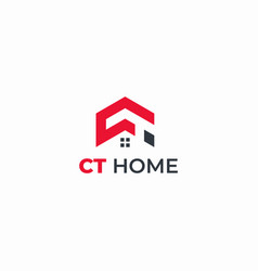 initial logo ct home abstract vector image