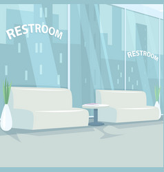 Interior rest room with panoramic windows vector