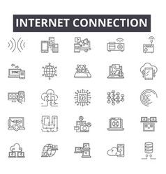 internet connection line icons for web and mobile vector image