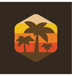 Island palm holiday at sunset vector