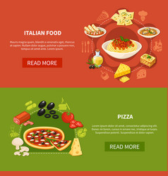 Italian cuisine horizontal banners vector