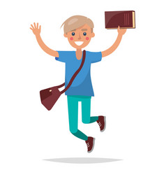 Jumping blond boy student with book vector