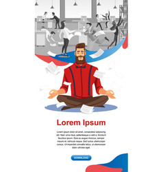 Keeping calm in stressful work flat website vector