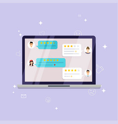 laptop with review rating reviews stars with good vector image