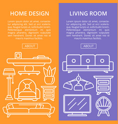 Living room design linear poster set vector