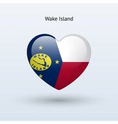 Love Wake Island symbol Heart flag icon vector