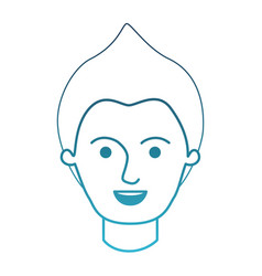 male face with modern hairstyle in degraded blue vector image