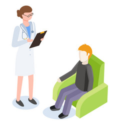 medicine and healthcare doctor talking to patient vector image
