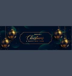 Merry christmas hanging 3d balls premium banner vector