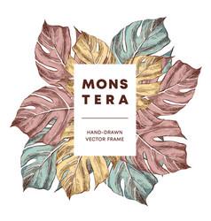 monstera design hand drawn frame template vector image