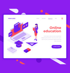 online education people and interact with laptop vector image