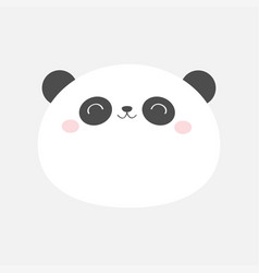 Panda bear round face icon black and white vector