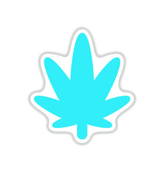 paper sticker on white background cannabis vector image