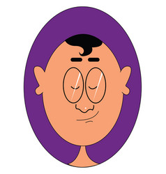 Portrait a man with big ears over a purple vector