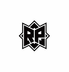 rp monogram logo with square rotate style outline vector image