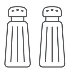 salt and pepper shaker thin line icon kitchen vector image