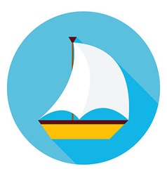 Sea Boat Circle Icon vector image