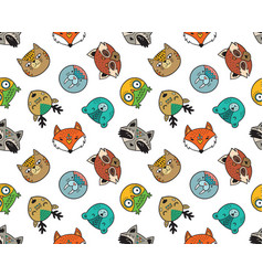 seamless pattern cute animal portraits vector image