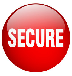 Secure red round gel isolated push button vector