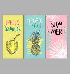 set abstract summer cards vector image