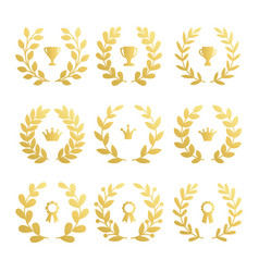 set awards cup and crown with laurel branch vector image