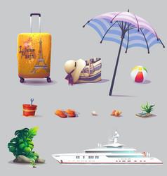set cute cartoon different elements vector image