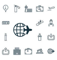Set of 16 traveling icons includes resort vector